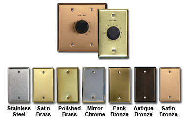 RCI Custom VCLT Series 70 Volt Volume Controls on Plated Steel Wall Plates